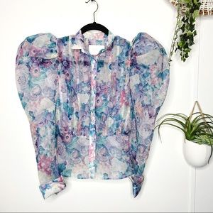 Selkie Emma Pastel Floral Puff Sleeve Blouse XS